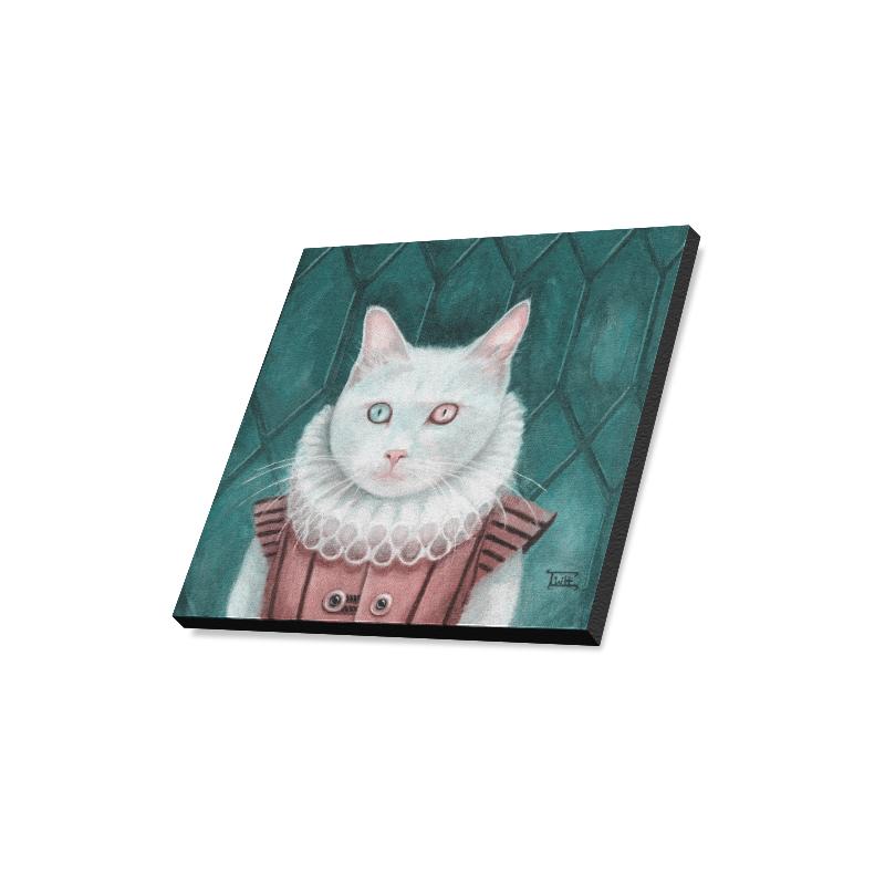 "Renaissance Cat-green Canvas Print 16""x16"""
