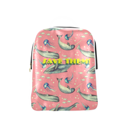 PiccoGrande`s Save the Ocean whales-jellyfish-white-pink-yellow Popular Backpack (Model 1622)
