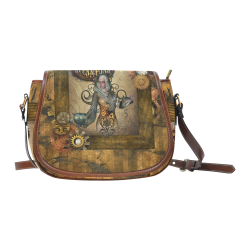 Steampunk lady with owl Saddle Bag/Large (Model 1649)