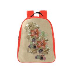 leather flower art School Backpack (Model 1601)(Medium)
