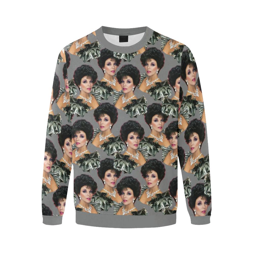 joan x 4 dbl Men's Oversized Fleece Crew Sweatshirt (Model H18)
