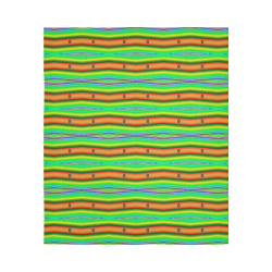 """Bright Green Orange Stripes Pattern Abstract Cotton Linen Wall Tapestry 51""""x 60"""""""