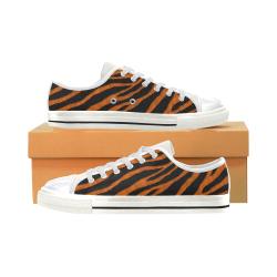 Ripped SpaceTime Stripes - Orange Canvas Women's Shoes/Large Size (Model 018)