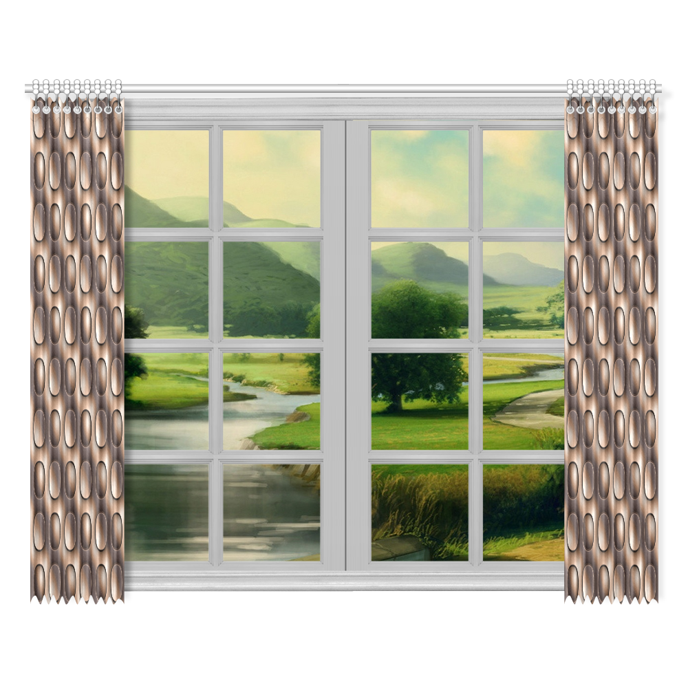 """Brown glossy toned buttons Window Curtain 52""""x84""""(Two Pieces)"""