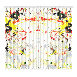 "Black, Red, Yellow Paint Splatter Window Curtain 52""x96""(Two Piece)"