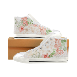 Watercolor Art Shoes, Flower Lover Women's Classic High Top Canvas Shoes (Model 017)