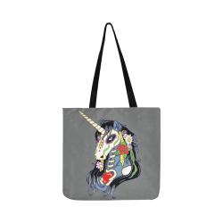 Spring Flower Unicorn Skull Grey Reusable Shopping Bag Model 1660 (Two sides)