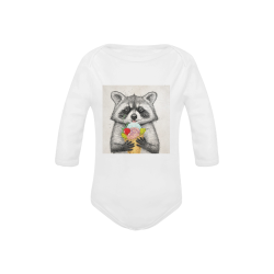 Sweet raccoon Baby Powder Organic Long Sleeve One Piece (Model T27)