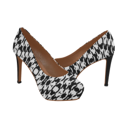 Modern Houndstooth (Black/White) Women's High Heels (Model 044)