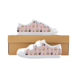 pink Velcro Canvas Kid's Shoes (Model 008)