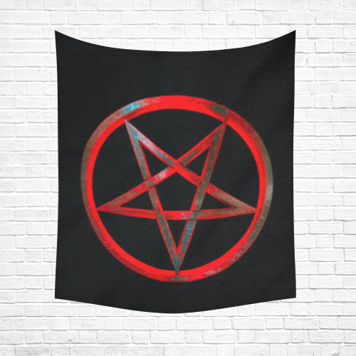 "Red Reverse Pentagram Black Light Altar Cloth/ Cotton Linen Wall Tapestry 51""x 60"""