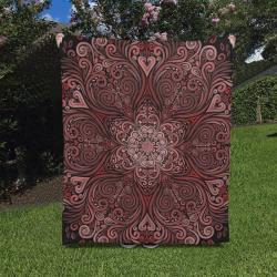 "Red, orange, pink and brown 3D Mandala Pattern Quilt 50""x60"""