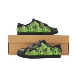 Tropical Jungle Leaves Camouflage Velcro Canvas Kid's Shoes (Model 008)