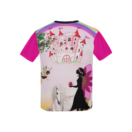 Pink Castle in the Sky Kids' All Over Print T-Shirt with Solid Color Neck (Model T40)