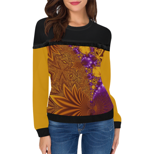 Sunset Jungle Leaves Women's Fringe Detail Sweatshirt (Model H28)