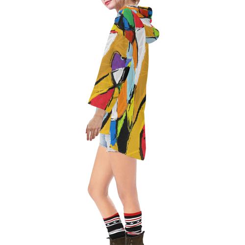 Yellow Abstract Art  8195 Step Hem Tunic Hoodie for Women (Model H25)