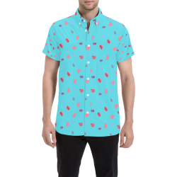 Pink-Blue Hearts-Wild Thing-Hot Stuff on Turquoise Men's All Over Print Short Sleeve Shirt (Model T53)