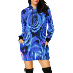 roses are blue All Over Print Hoodie Mini Dress (Model H27)