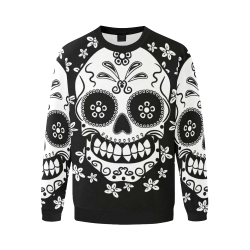 Sugar Skull Men's Oversized Fleece Crew Sweatshirt/Large Size(Model H18)