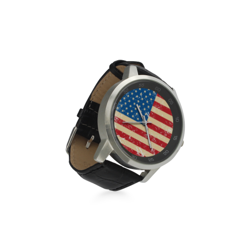 USA Flag Unisex Stainless Steel Leather Strap Watch(Model 202)