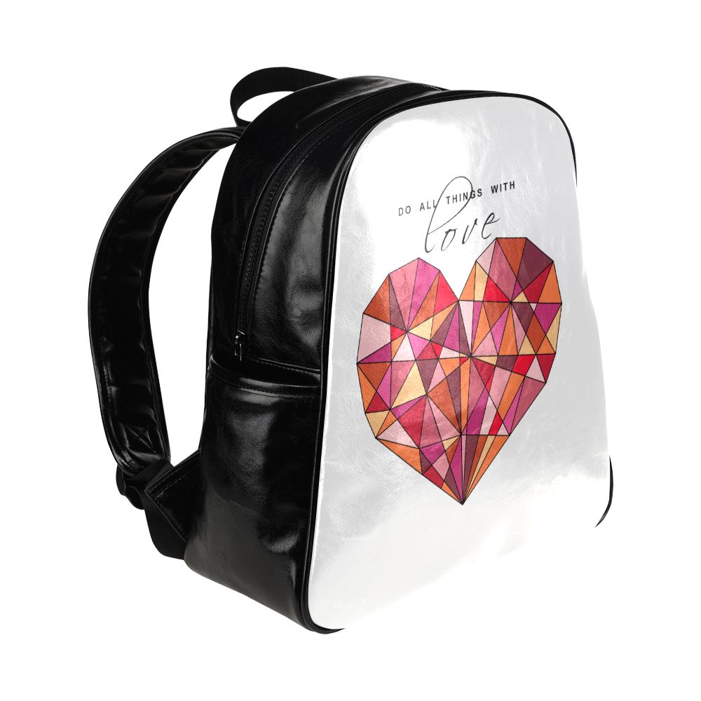 RED HEART WIREFRAME Multi-Pockets Backpack (Model 1636)