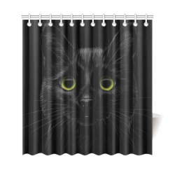 "Black Cat Shower Curtain 69""x72"""
