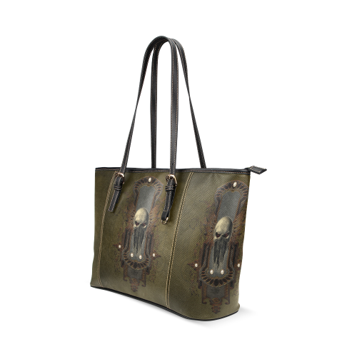 Awesome dark skull Leather Tote Bag/Large (Model 1640)