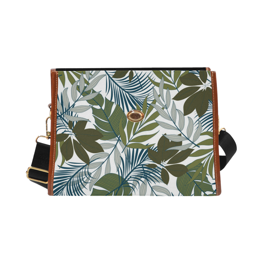 Tropical Leaves - Shades of Green Waterproof Canvas Bag/All Over Print (Model 1641)