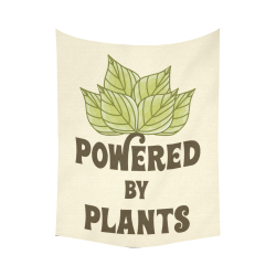 """Powered by Plants (vegan) Cotton Linen Wall Tapestry 60""""x 80"""""""