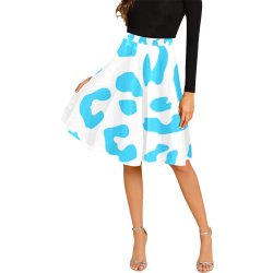 Blue and White Cheetah Melete Pleated Midi Skirt (Model D15)