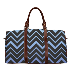 Steel Blue Chevrons on Black Background Waterproof Travel Bag/Small (Model 1639)