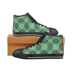 STRIPES LIGHT GREEN Men's Classic High Top Canvas Shoes (Model 017)