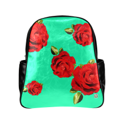 Fairlings Delight's Floral Luxury Collection- Red Rose Multi-Pockets Backpack 53086b10 Multi-Pockets Backpack (Model 1636)