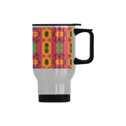 Tribal shapes in retro colors (2) Travel Mug (Silver) (14 Oz)