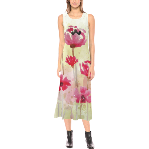 Watercolor Floral Phaedra Sleeveless Open Fork Long Dress (Model D08)