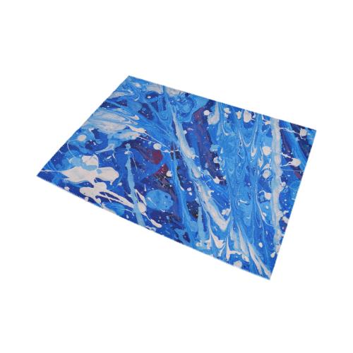 Paint Splatter on Blue - Abstract Area Rug7'x5'