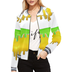 dripping paint in colors All Over Print Bomber Jacket for Women (Model H21)