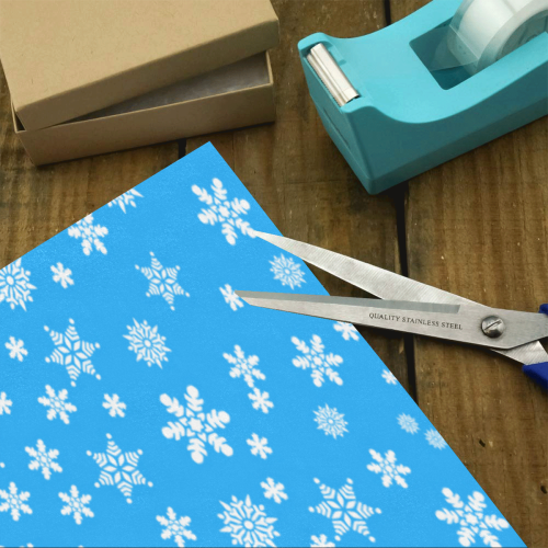 "Christmas White Snowflakes on Light Blue Gift Wrapping Paper 58""x 23"" (2 Rolls)"