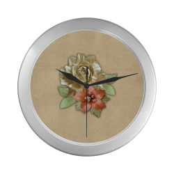Leather flower decor Silver Color Wall Clock