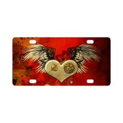 Steampunk heart, clocks and gears Classic License Plate