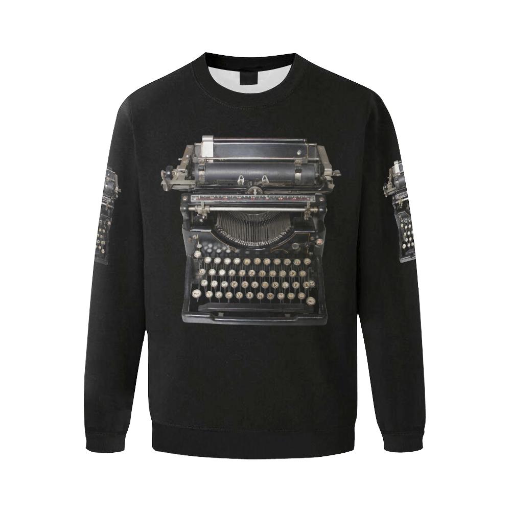 typewriter Men's Oversized Fleece Crew Sweatshirt (Model H18)