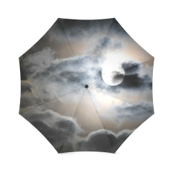 Dark Clouds And Full Moon In The Night Sky Foldable Umbrella (Model U01)