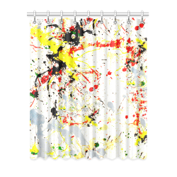 "Black, Red, Yellow Paint Splatter Window Curtain 52"" x 63""(One Piece)"