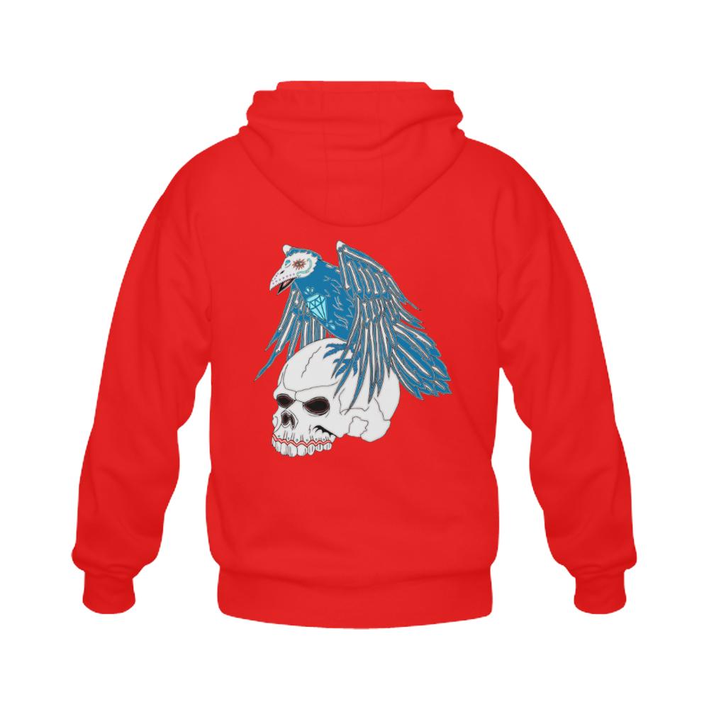 Raven Sugar Skull Red Gildan Full Zip Hooded Sweatshirt (Model H02)