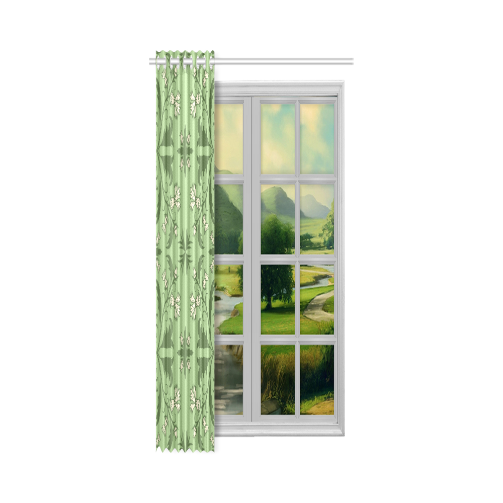 "White cornflowers New Window Curtain 50"" x 108""(One Piece)"
