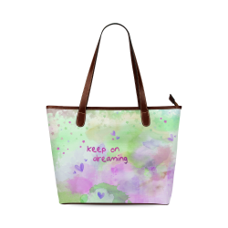 KEEP ON DREAMING - lilac and green Shoulder Tote Bag (Model 1646)