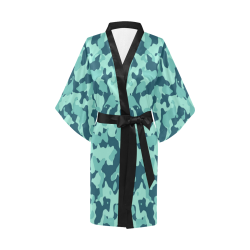 Camouflage Beach Glass - Blue Coral - Pool Blue Kimono Robe