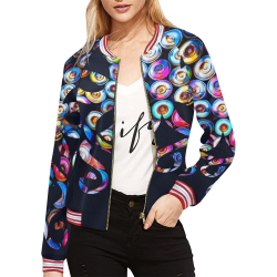 Environmentalist by PiccoGrande - Save the ocean, dark All Over Print Bomber Jacket for Women (Model H21)