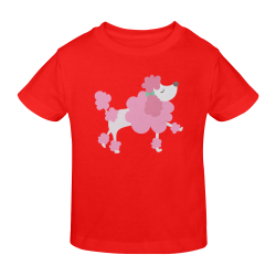 Pretty Pink Poodle Red Sunny Youth T-shirt (Model T04)