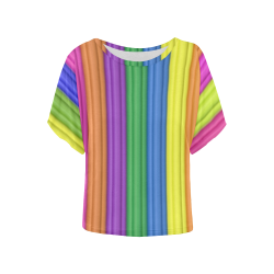 rainbow Women's Batwing-Sleeved Blouse T shirt (Model T44)
